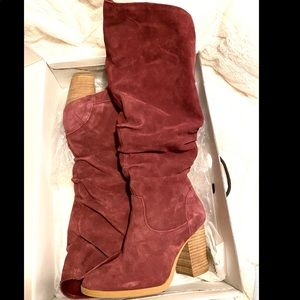Nine West Wine Suede Slouch Knee High Boots